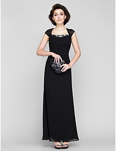 Lanting Bride Sheath / Column Mother of the Bride Dress Ankle-length Sleeveless Chiffon with Beading