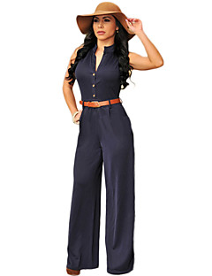 Women's Solid Blue / Red Jumpsuits , Casual / Day / Holiday Deep V Sleeveless  Without Belt