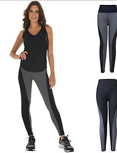 Yoga Pants Mantenha Quente / Compressão / Elástico Elasticidade Alta Wear Sports Cinzento / Preto Mulheres Outros Ioga