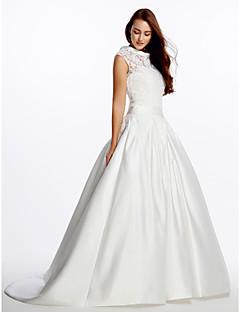 A-line Wedding Dress-Ivory Sweep/Brush Train High Neck Lace / Satin