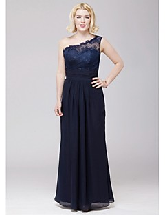 Floor-length Chiffon / Lace Bridesmaid Dress - Dark Navy A-line One Shoulder