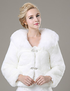 Fur Coats Shrugs Long Sleeve Faux Fur Ivory Wedding / Party/Evening / Casual Rhinestone Clasp