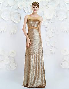 Formeller Abend Kleid - Champagner Lyocell - Etui-Linie - bodenlang - Juwel-Ausschnitt