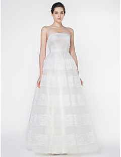 Lan Ting - A-line Wedding Dress - Ivory Floor-length Strapless Lace / Tulle