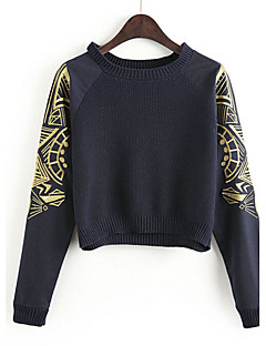 Women's Vintage Cute Regular Pullover,Embroidered Blue White Round Neck Long Sleeve Others All Seasons Medium Stretchy