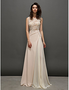 TS Couture® Formal Evening Dress - Pearl Pink A-line Jewel Sweep/Brush Train Lace
