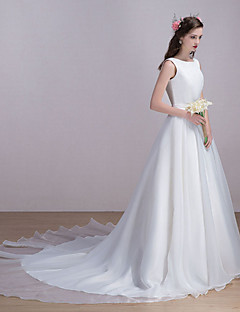 Vestido de Noiva - Marfim Trapézio Canoa Cauda Capela Organza / Cetim