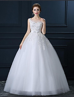 Ball Gown Plus Sizes / Petite Wedding Dress - Ivory Floor-length Scoop Tulle
