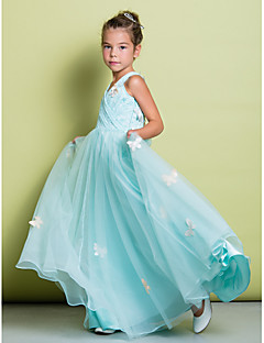 Lanting Bride ® A-line Floor-length Flower Girl Dress - Lace Sleeveless V-neck with Bow(s) / Lace / Criss Cross