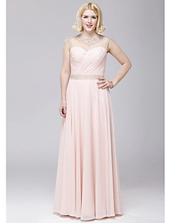 A-linje Juvel - Formell Aften Dress - Rosa Gulvlengde Chiffon