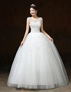 De Baile Vestido de Noiva Longo Decote em U Cetim / Tule com Flor / Paetês