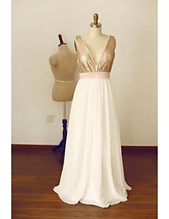 포멀 이브닝 드레스 A-라인 V-넥 바닥 길이 쉬폰 / 스팽글 와 리본 / 허리끈/리본