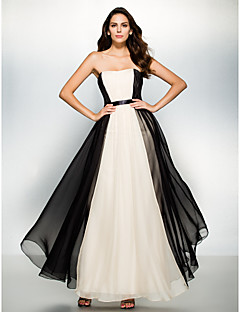 Formal Evening Dress A-line Strapless Ankle-length Chiffon with Draping