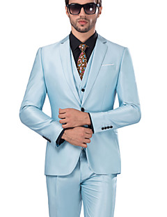 Suits Standard Fit Notch Single Breasted One-button Serge Solid 3 Pieces Sky Blue Straight Flapped Light Blue Buttons / Pockets