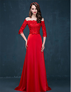 Formal Evening Dress - Ruby A-line Off-the-shoulder Sweep/Brush Train Lace