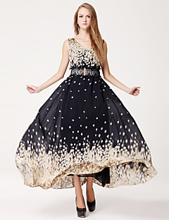 Ankle-length Chiffon Bridesmaid Dress - Black Ball Gown V-neck