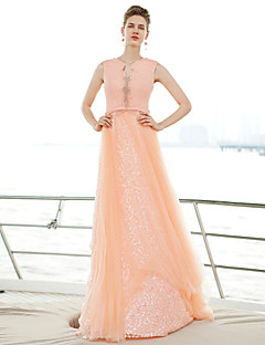 Formal Evening Dress - Pearl Pink A-line Sweetheart Floor-length Tulle