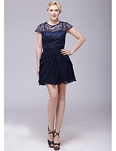 Cocktail Party Dress A-line Scoop Short / Mini Chiffon / Lace with Lace / Pleats