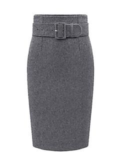 여성 플러스 사이즈 바디콘 솔리드 트임 스커트높은 밑위 무릎길이 폴리에스테르 마이크로- 신축성 가을