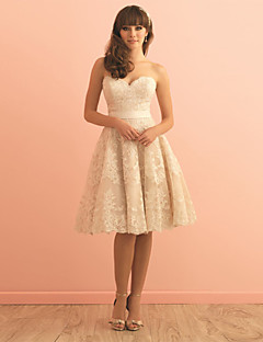 Knee-length Lace / Satin Bridesmaid Dress - Champagne A-line Sweetheart