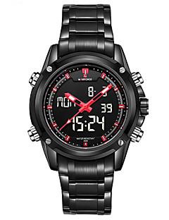 Herren Armbanduhr Quartz Japanischer Quartz LCD Kalender Chronograph Wasserdicht Alarm Edelstahl Band Schwarz Silber Marke