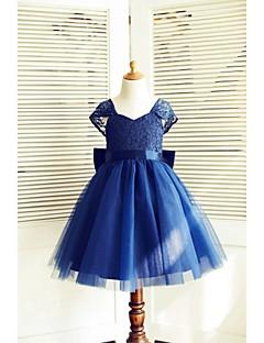 Vestido de Niña Florista - Corte A Hasta la Rodilla - Encaje / Satén / Tul Manga Corta