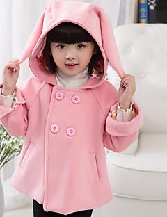 Girl's Cotton Blend  Cotton Winter Fashion  Long Ears Hooded Woolen Overcoat  Coat