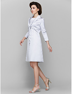 LAN TING BRIDE A-line Mother of the Bride Dress - Convertible Dress Knee-length 3/4 Length Sleeve Charmeuse with Pleats