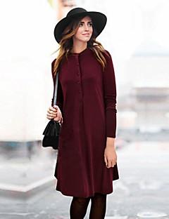De las mujeres Tallas Grandes Vestido Tallas Grandes / Vintage Un Color Hasta la Rodilla Cuello Barco Acrílico