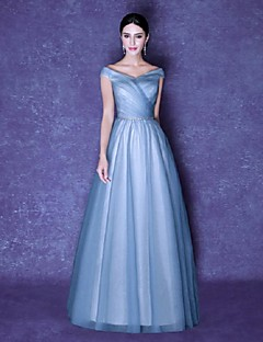 Formal Evening Dress Ball Gown V-neck Floor-length Tulle with Side Draping