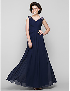 A-line Mother of the Bride Dress - Dark Navy Ankle-length Sleeveless Chiffon / Lace