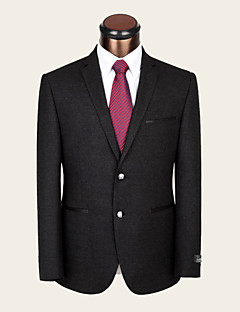 Suits Notch Single Breasted Two-buttons Wool & Polyester Blended Solid 1 Piece Dark Gray