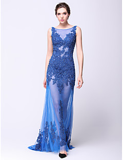 Formal Evening Dress - See Through Sheath / Column Scoop Sweep / Brush Train Lace / Tulle with Appliques / Beading