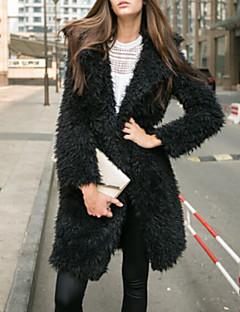 Women Fashion Solid Color Lapel Mid-long Faux Fur Outerwear
