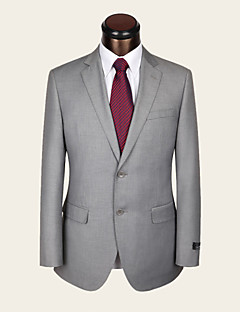 Suits Slim Fit Notch Single Breasted Two-buttons Wool / Viscose Solid 2 Pieces Light Gray
