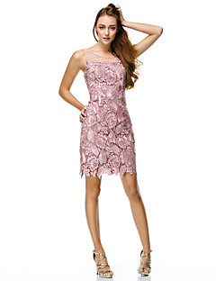 TS Couture® Cocktail Party / Company Party / Family Gathering Dress Sheath / Column Scoop Short / Mini Lace / Polyester withBeading