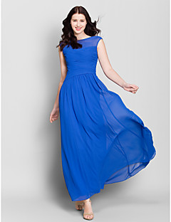 Lanting Bride® Ankle-length Chiffon Bridesmaid Dress - A-line Bateau with Side Draping