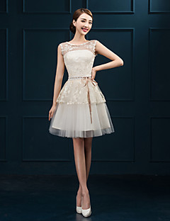 Short / Mini Tulle Bridesmaid Dress Sheath / Column Jewel with Appliques