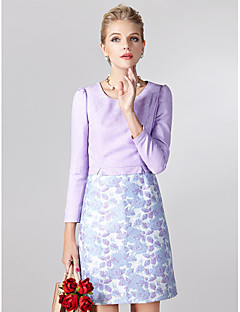 Sheath/Column Mother of the Bride Dress - Print Short/Mini Long Sleeve Polyester