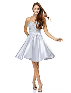 TS Couture Cocktail Party Dress - Silver A-line Sweetheart Knee-length Tulle