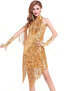 Latin Dance Dresses Women's Performance Chinlon Sequins Tassel(s) 1 Piece Dress 78-102