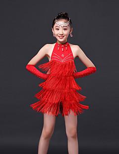 Latin Dance Dress / Children's Performance Sweet Rhinestones / Tassel Dress 3 Pieces