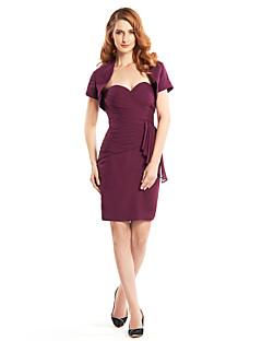 Lanting Sheath/Column Mother of the Bride Dress - Grape Knee-length Short Sleeve Chiffon