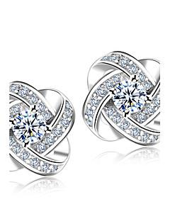 Oorknopjes imitatie Diamond Modieus Luxe Sieraden Sterling zilver Kristal Strass Zilver Sieraden Voor Bruiloft Feest Dagelijks 2 stuks