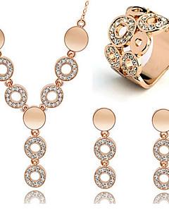 Dame Seturi de bijuterii Cercei Rotunzi  Cristal Pietrele Lunilor La modă costum de bijuterii Ștras Circle Shape Σκουλαρίκια Lănțișor Inel