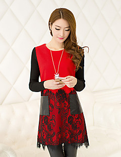 Women's Patchwork Red / Black Dress , Casual / Plus Sizes Round Neck Long Sleeve Woollen Fabrics