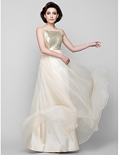 LAN TING BRIDE Floor-length Square Bridesmaid Dress - Sparkle & Shine Sleeveless Chiffon Sequined