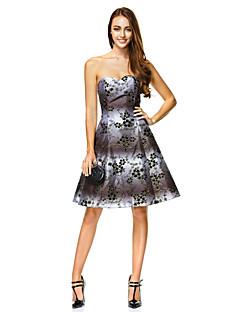 칵테일 파티 드레스 - 프린트 A라인 무릎길이 스위트하트 폴리에스터
