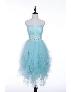 Vestido - Azul / Azul Céu Festa de Coquetel Linha-A Sem Alça Mini Tule