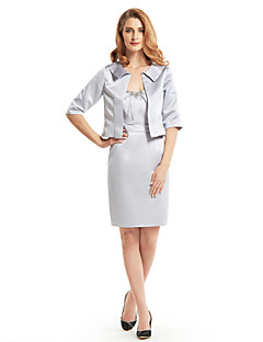 Lanting Sheath/Column Mother of the Bride Dress - Silver Knee-length Half Sleeve Satin